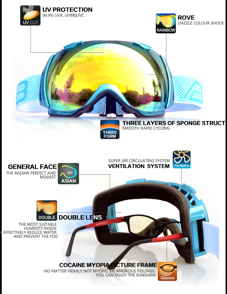 High quality ski goggles with anti- fog and dual lens