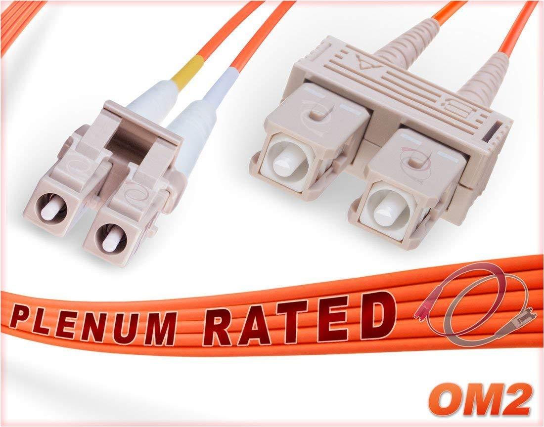 OM2 LC SC Plenum Duplex Fiber Patch Cable 50/125 Multimode - 15 Meter