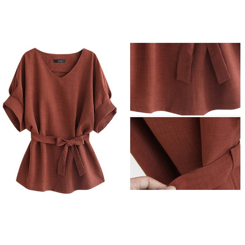 ea96bf46edc Ecoach high quality Plus Size solid color V Neck Short Sleeve women  wholesale old fashion Tunic