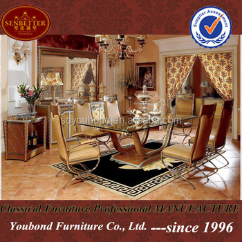 European Neoclassic Dining Room Set With Long Glass Dining - Glass or wood dining table