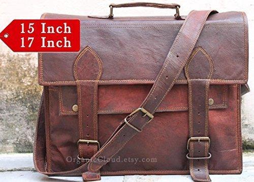 Right Choice Men's Handmade Genuine Leather Messenger Bag Shoulder Bag Briefcase Crossbody Office Bag Leather Satchel School Bag 17X12X5 Brown Christmas gifts