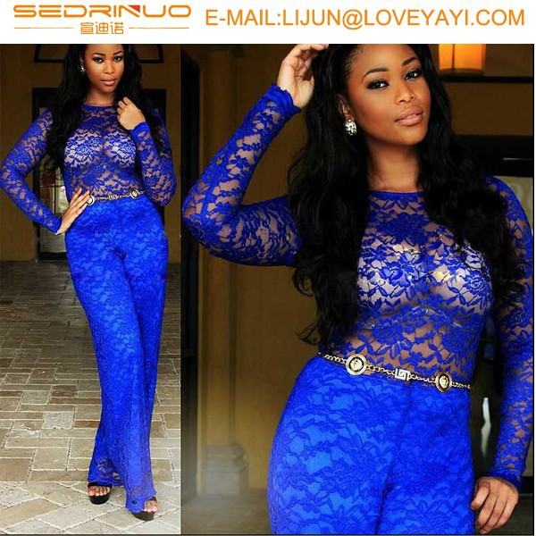 2015sexy clothing Girl night dress Latest Wedding and evening dressws Long sleeve Lace Blue evening Dress