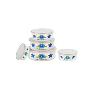 5pcs airtight cast iron enamel salad storage mixing sealed bowl sets