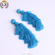 ELX-00771 2018 wholesale silk thread 4 layer fringe stud tassel earrings latest boho tassel earrings for women