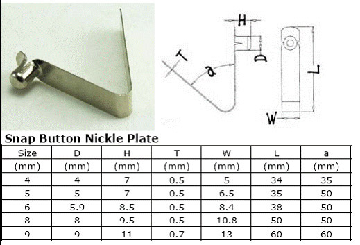 Nickle Plate Tent Pole Push Button Spring Snap Clip