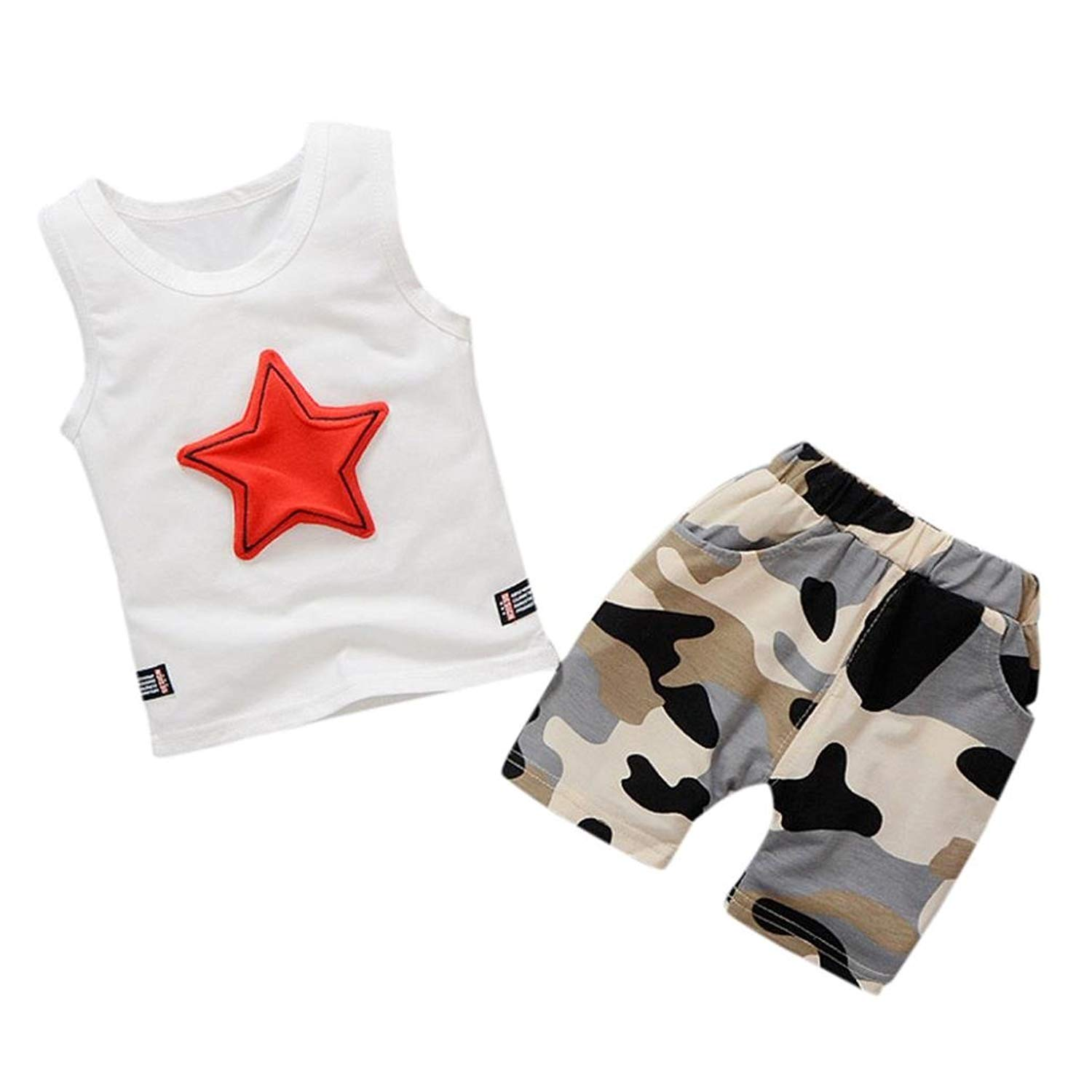 65031d100e7 Get Quotations · SUNBIBE Kids Clothes Baby Boys Cute Sleeveless Vest Tops+Camouflage  Pants Outfits Set 0 Shipping