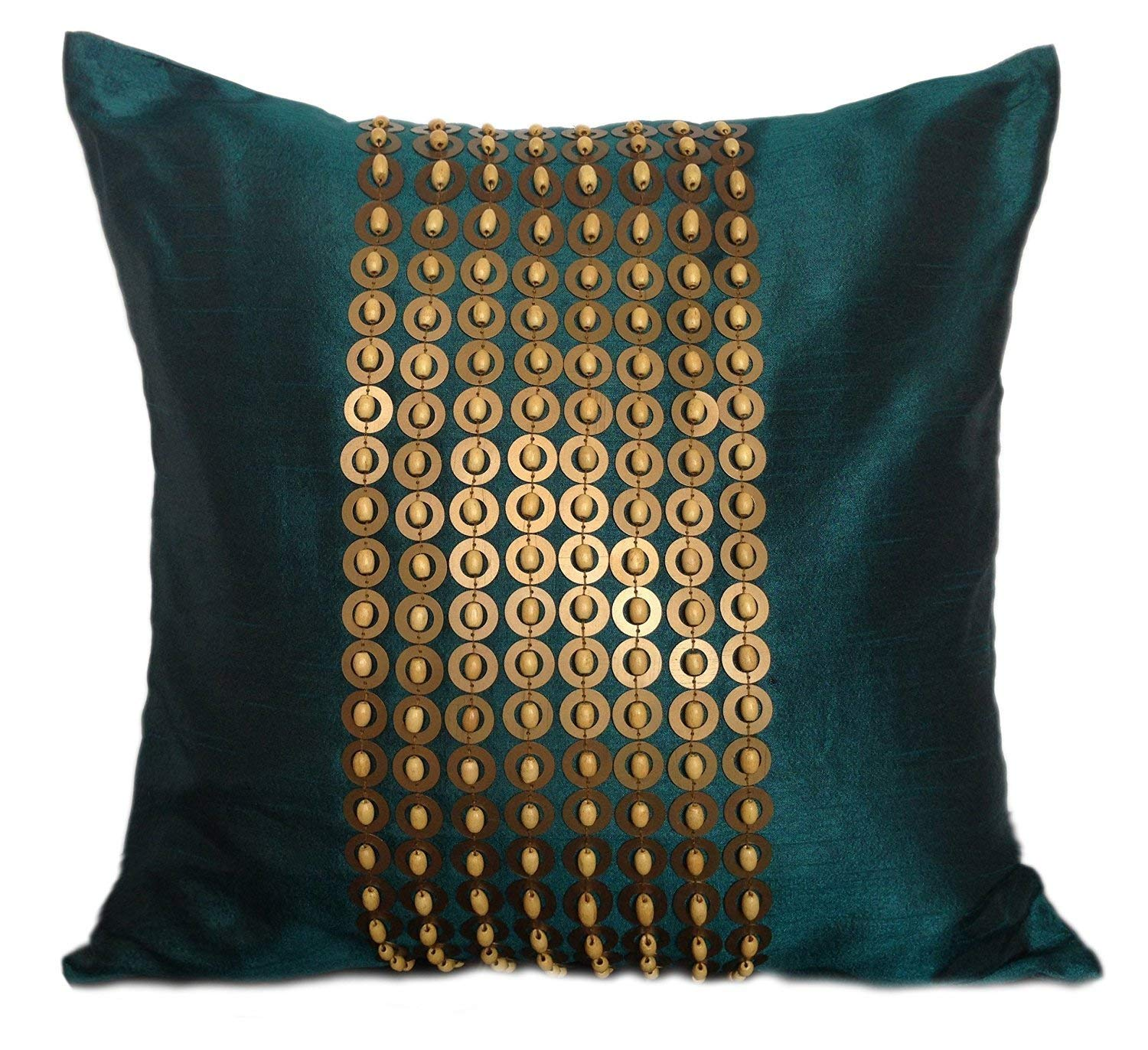 The White Petals Dark Teal Gold Decorative Pillow Cover with Gold Sequins and Wood Bead Embroidery in Panel Pattern (18x18 inch, Dark Teal)