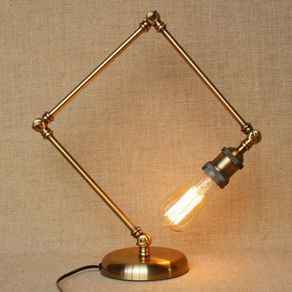 CGJDZMD Adjustable Swing Arm Reading Desk Lamp Loft Retro E27 Edison Bulb Wrought Iron Table Lamp Vintage Industrial Metal Iron Base Table Lights Lamp Bedside Bedroom Bar Cafe