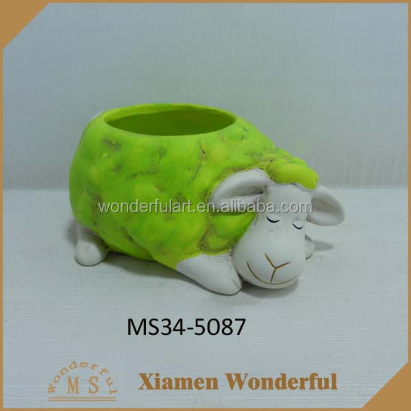 indoor decorative green ceramic sheep planter wholesale