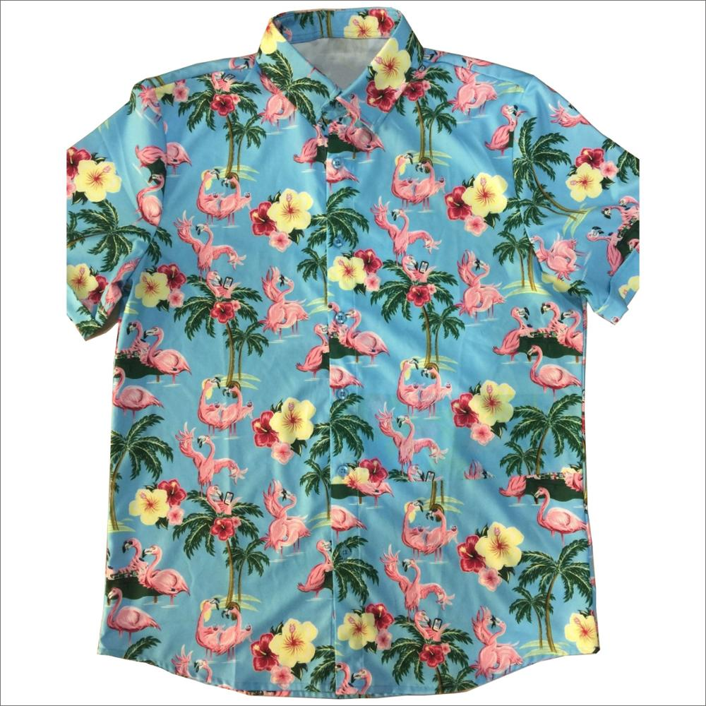 Vier Side Strech 100% Polyester Sublimatie Printproces Hawaiian Shirt