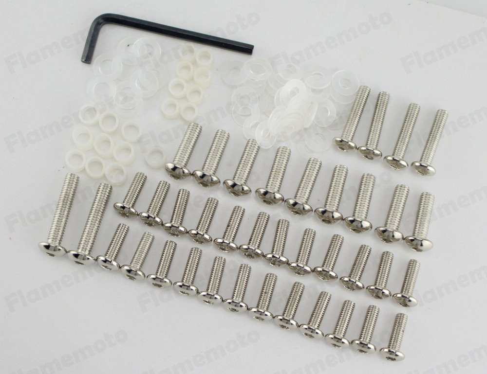 Pyage(TM) Chrome Motorcycle Sportbike Fairing Body Bolts Screw Kit for 2003-2007 Yamaha YZF R6