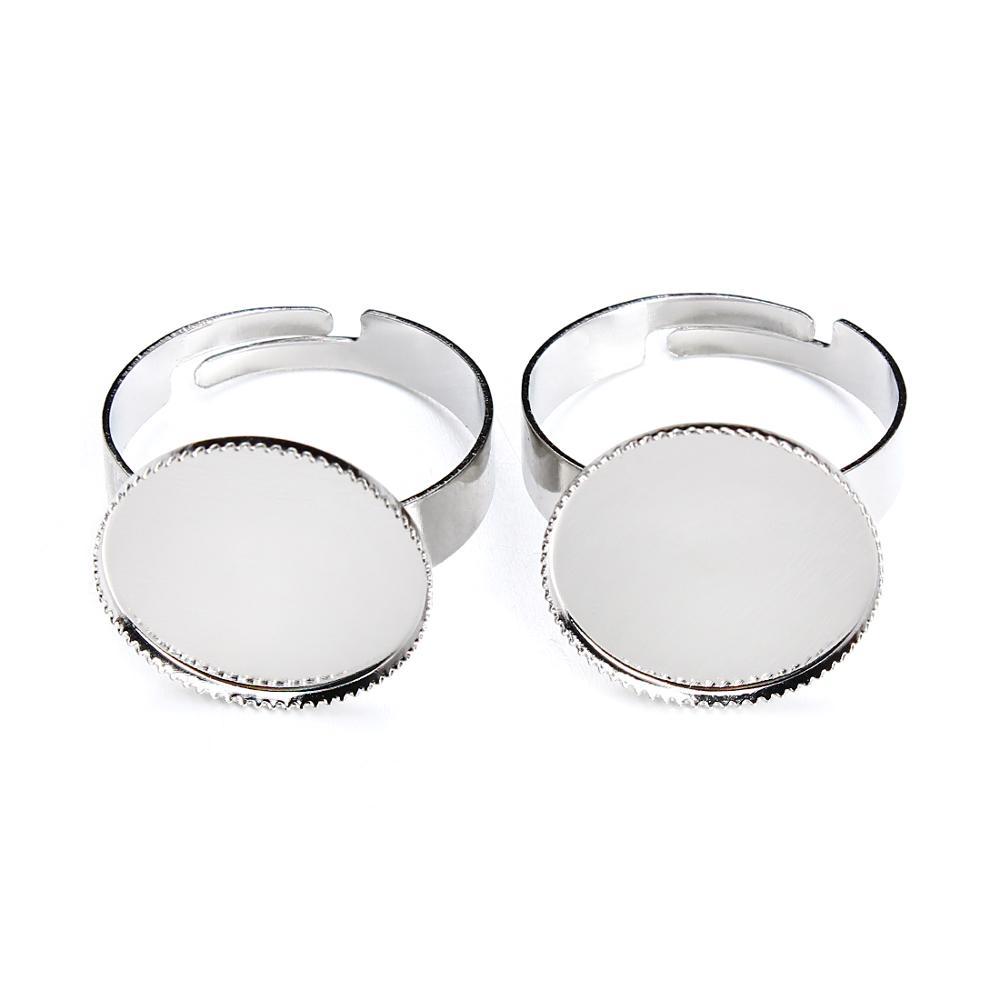 10 pieces / bag adjustable ring set white base ring bronze round tray