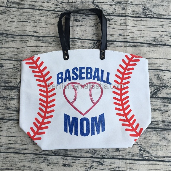 softball football baseball canvas cheap travel personalized tote leather handles handbags bags purse for women lady