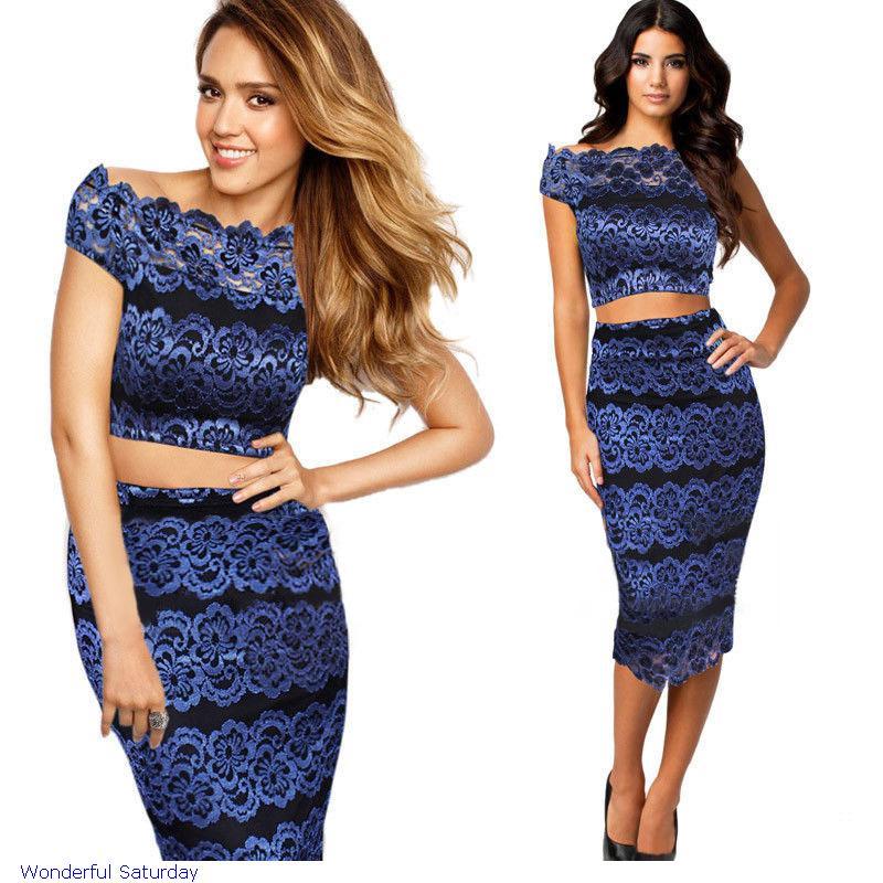 4cc449a2a40 Get Quotations · Cropped Roupas Femininas Conjunto Lace Vintage Short  Sleeve Camisa And Saia 2 Pcs Crop Top Skirt