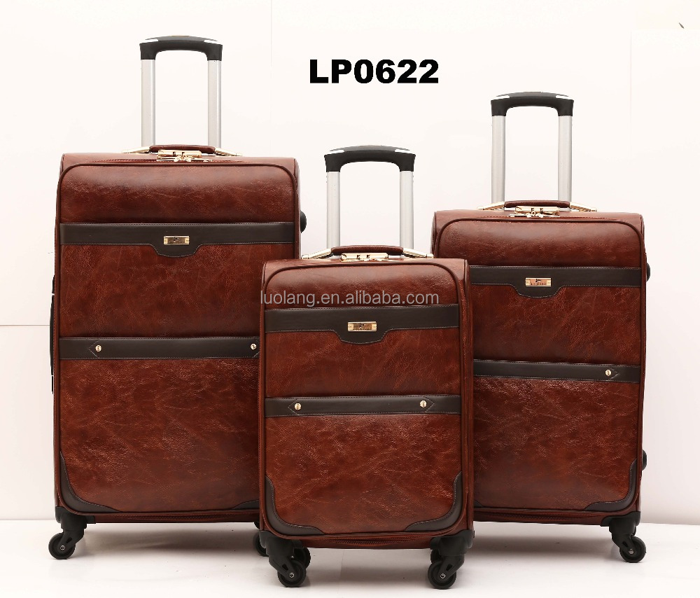 Oil leather pu trolley luggage ladies suitcase four spinner wheel cheap travel luggage set fashion elegant travel luggage