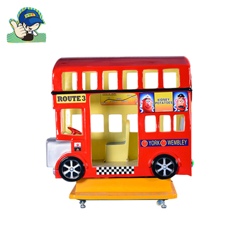 Coin operated London bus swing rocking kiddie ride game machine