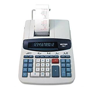 Victor : 1280-7 Desktop Calculator, 12-Digit Fluorescent, Two-Color Printing, Black/Red -:- Sold as 2 Packs of - 1 - / - Total of 2 Each