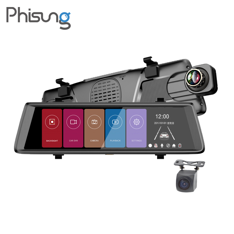 "Phisung F900 10"" Full Mirror Touch car mirror camera Dual Lens FHD 1080P 1:1 split view automobiles drive recorder"