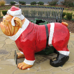 Wholesale Fiberglass Life Size English Christmas Bulldog Statue For Sale