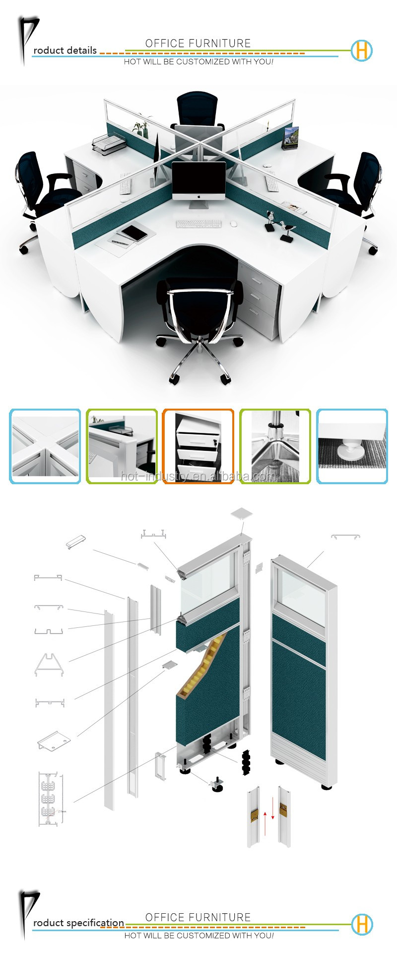 Office Furniture Particle Board Computer Desk Office Modular