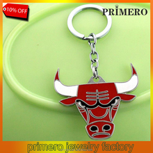 New Fashion Basketball Fans Bulls Key Chain Pendant Cool Chicago Metal Cow Keyring