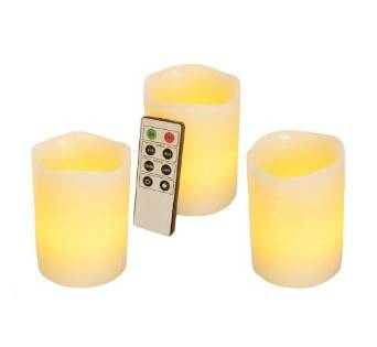 Frostfire Mooncandles - 3 Vanilla Scented Wax Flameless Candles with Timer and Remote Control (3x4 Inch)