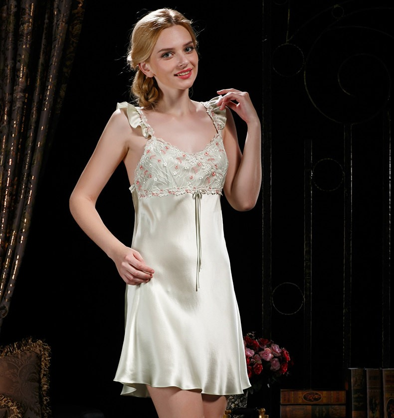 97deefa6a Últimas mulheres fashion100 % de seda sleepwear senhoras camisola de seda  pura verão