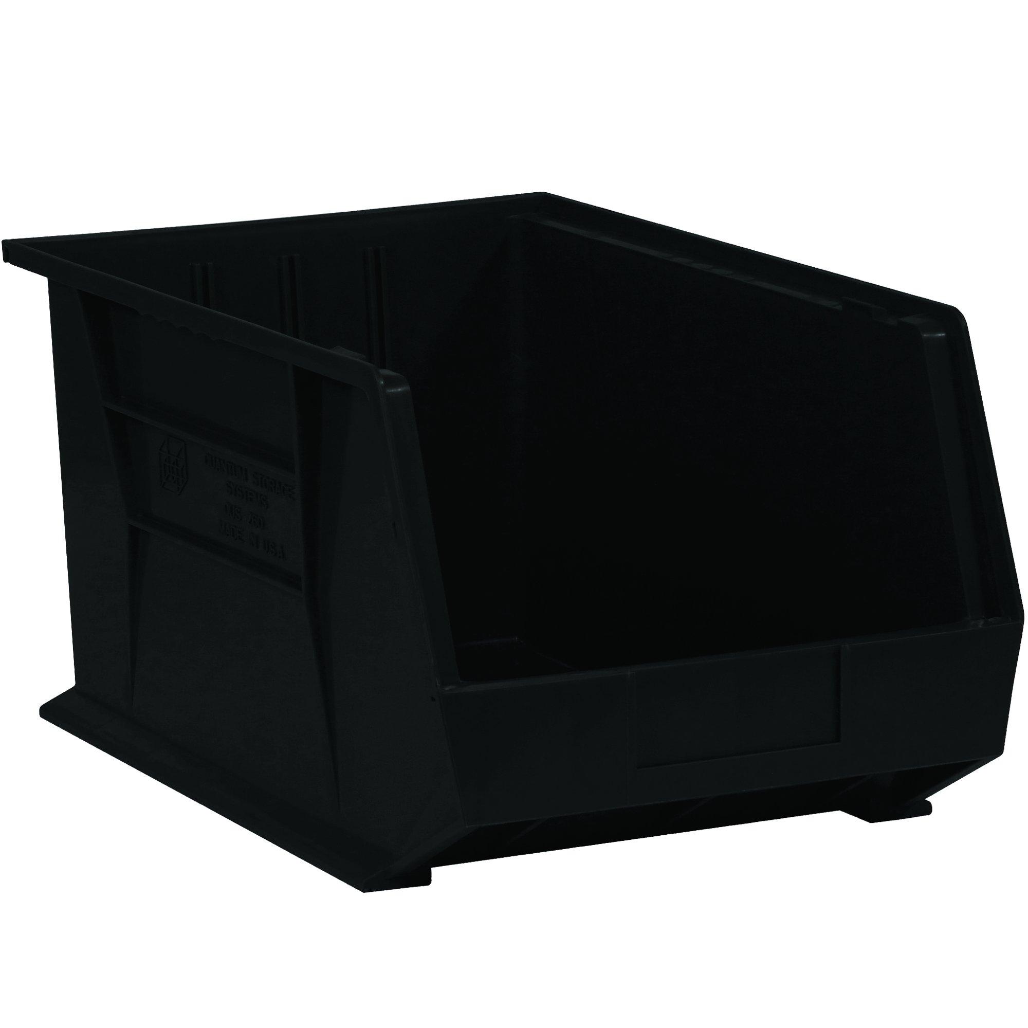 """Aviditi BINP0543K Plastic Stack and Hang Bin Boxes, 5 3/8"""" x 4 1/8"""" x 3"""", Black (Pack of 24)"""