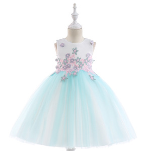 Kids Party Dress Wholesale Baby Velvet Slim Girls Clothing Western Party Wear Dresses L5024