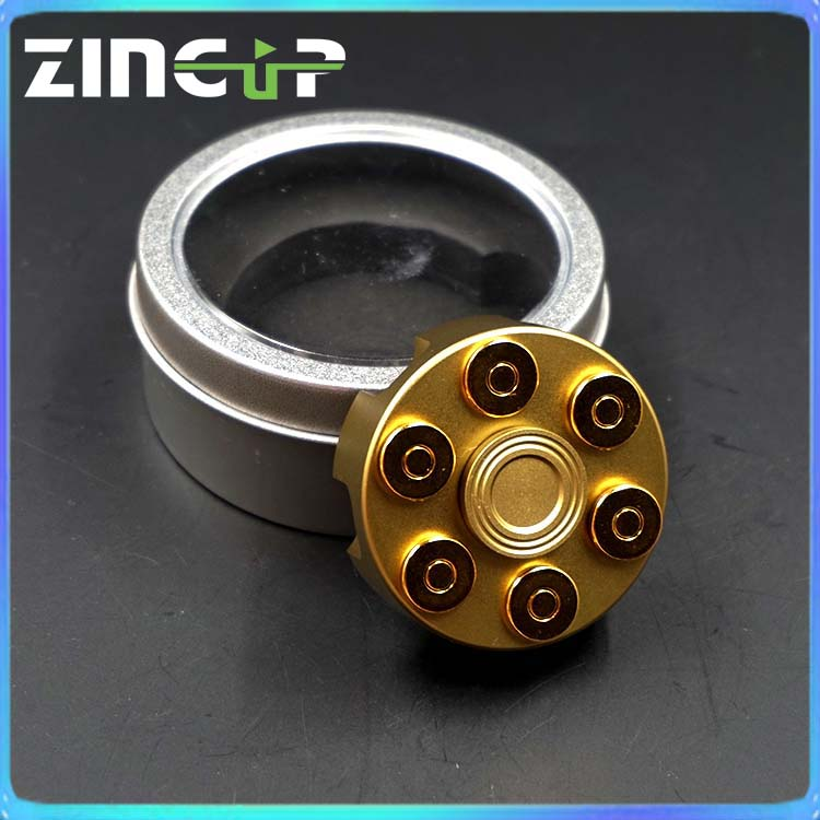 Long Spin New Style Gold Metal Revolver Fidget Hand Spinner with Bullet