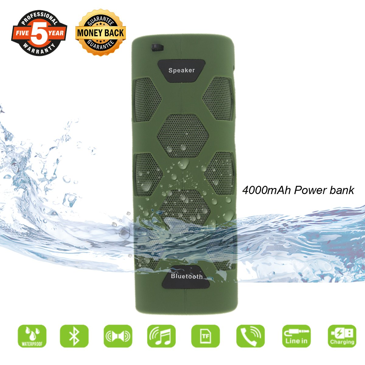 Outdoor Bluetooth Speaker,Waterproof Portable Bluetooth Speaker with HD Audio and Enhanced Bass,Built-In Dual Driver Speakerphone,Handsfree Calling and Portabel Wireless Speaker for Camping (Green)