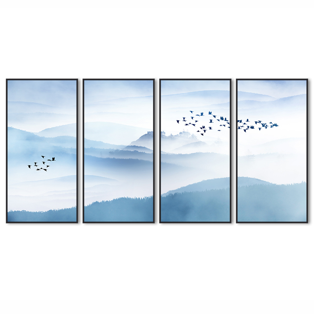 Chinese 4 Panels Abstract Landscape Framed <strong>Art</strong>