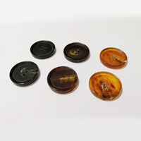 four hole pointy tip round real buffalo horn button for coat overcoat