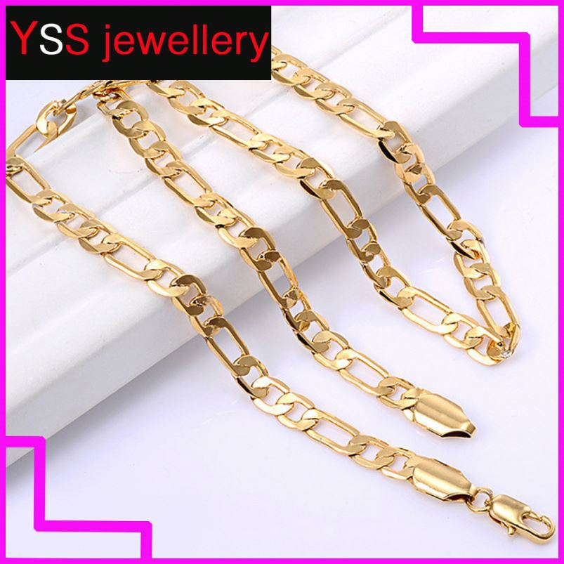 18K yellow gold filled necklace 2mm figaro NK necklaces