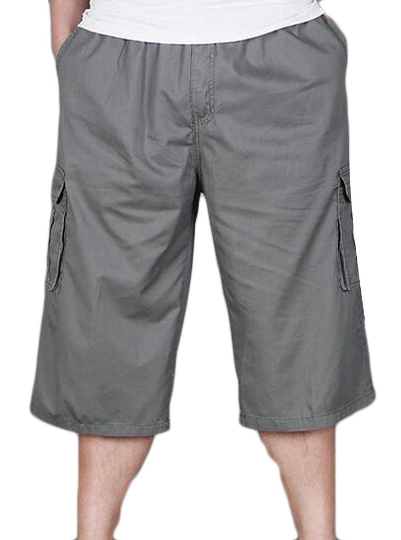 415d16e3a08 Get Quotations · Etecredpow Mens Big-Tall Sport Capri Short Straight Fit  Cotton Loose Fit Shorts