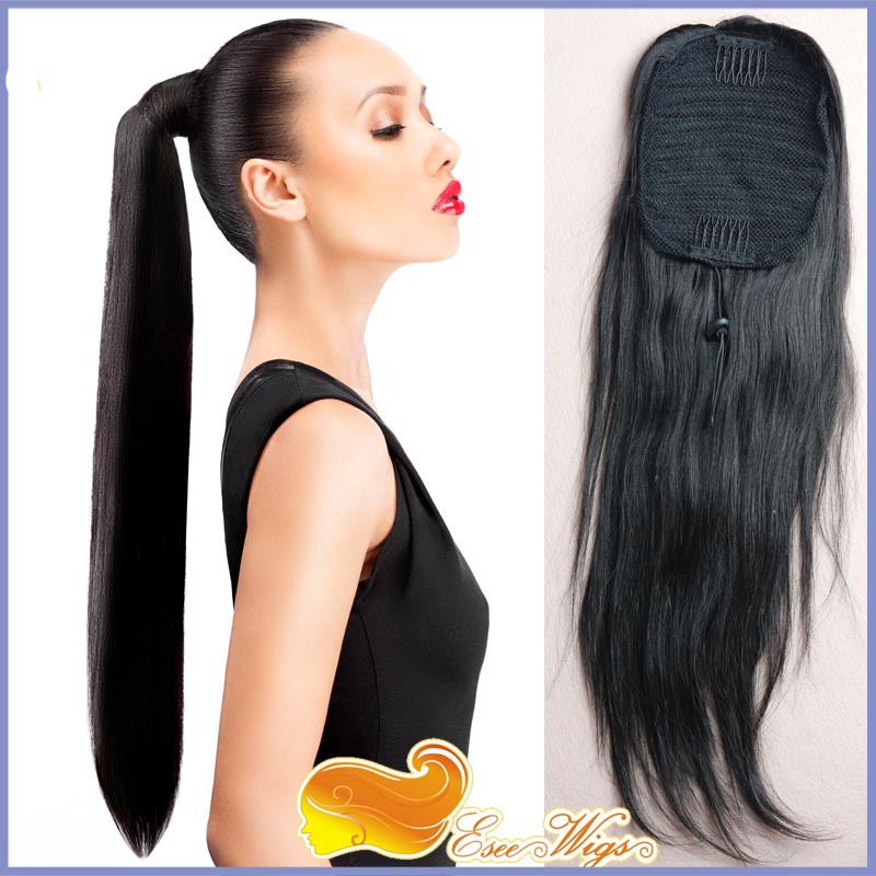 6a Brazilian Virgin Hair Long Straight Ponytail Wrap Hair Extension