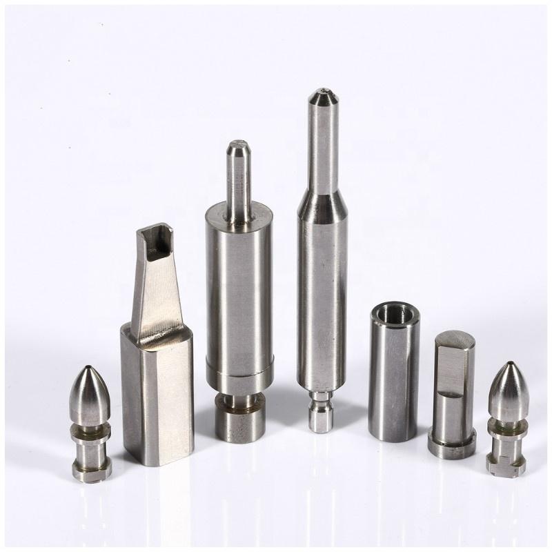 Su misura Speciale forma di carburo di tungsteno acciaio inox esagono die taglio pugno pin con TiN rivestimento in oro