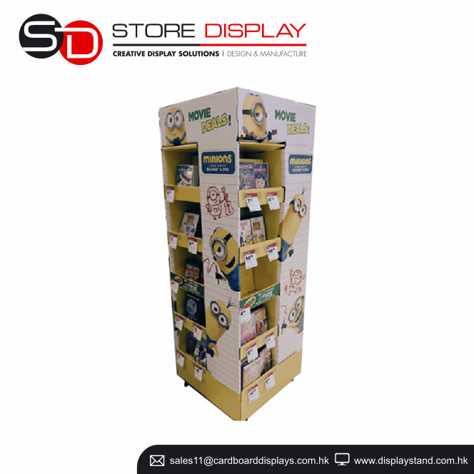 Rotating watch display stand, 4 sided standing display with wheels for CD, stationery cardboard pallet display