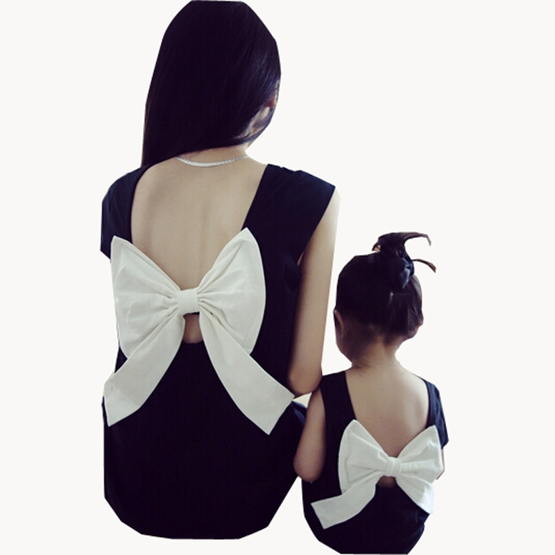 2015 Summer Style Family Look Matching Mother Daughter Girl Clothes Outfits Mom And Daughter Dress Bow Backless Black Dresses