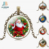 Merry Christmas time precious stones glass bronze necklace pendant jewelry for wholesale