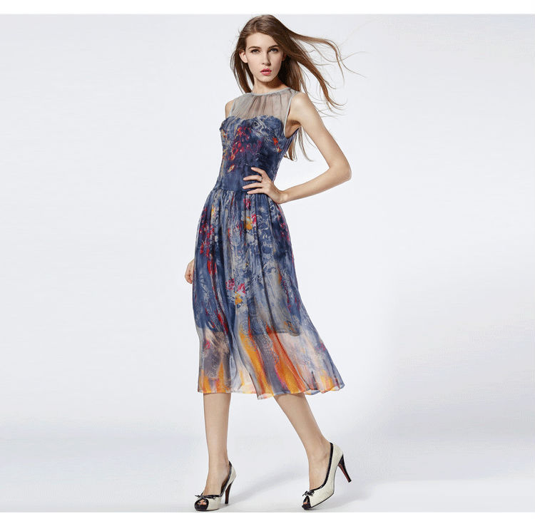 5c42959d0ee DUOMINU brand the 2015 summer new style silk dress Printed gauze dress  restoring ancient ways Female