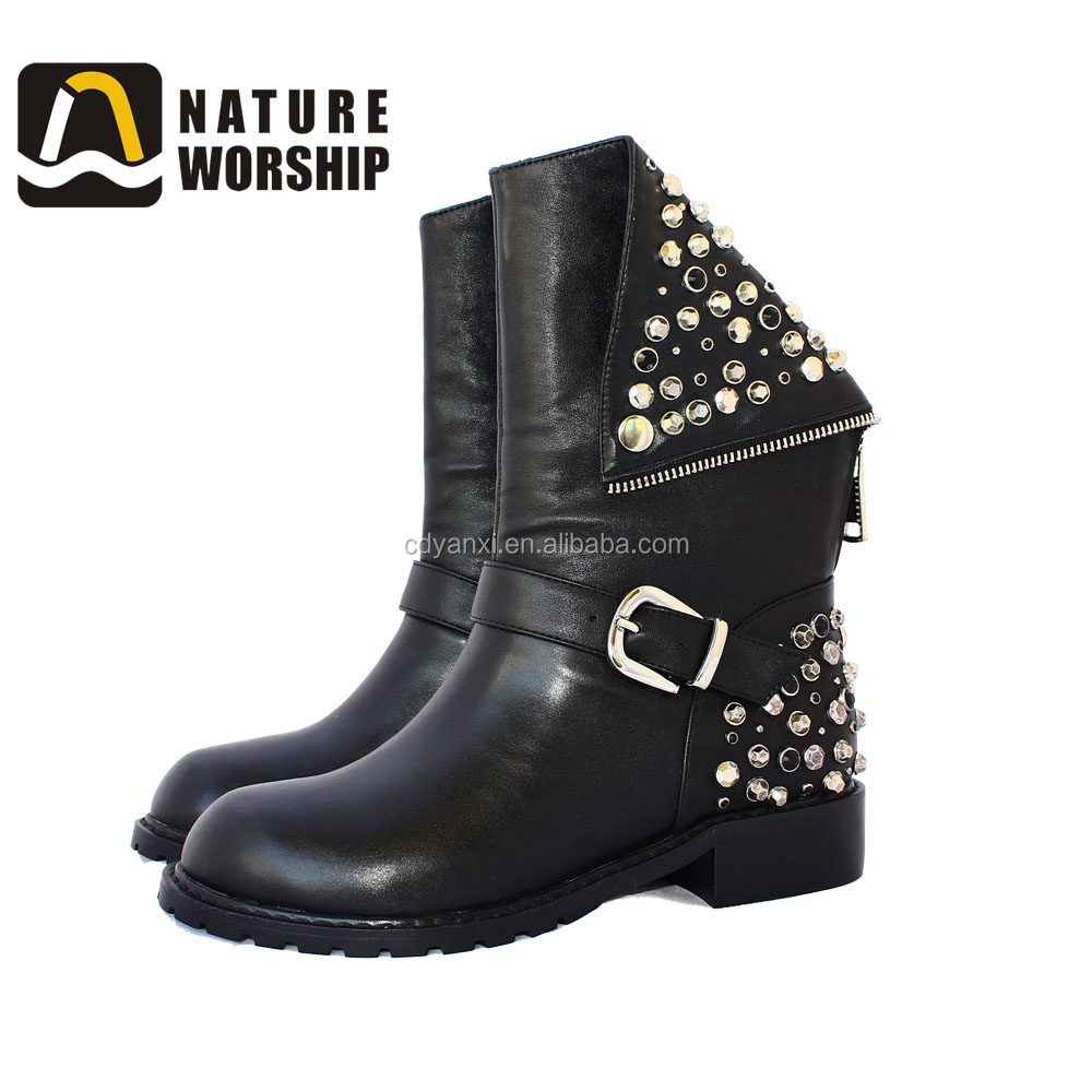 Wholesale Women Winter High Heel Waterproof Motorcycle Leather Riding Racing Boots China 2017
