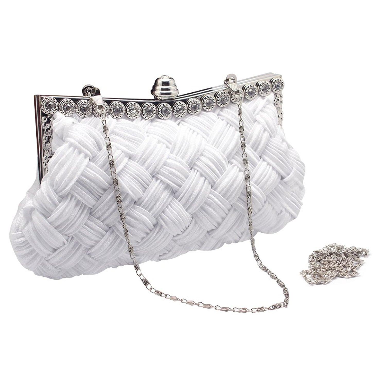140b9eac11d Get Quotations · Hysagtek Beaded Pearl Rhinestone Ladies Evening Clutch  Hand bag Party Wedding Bridal Prom Purse Chain Bag