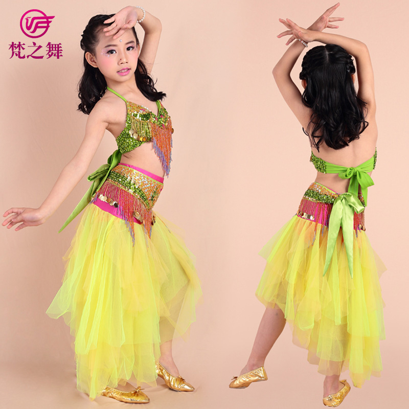 ET-064 Best design colorful sequin children girls belly dance dress suit set