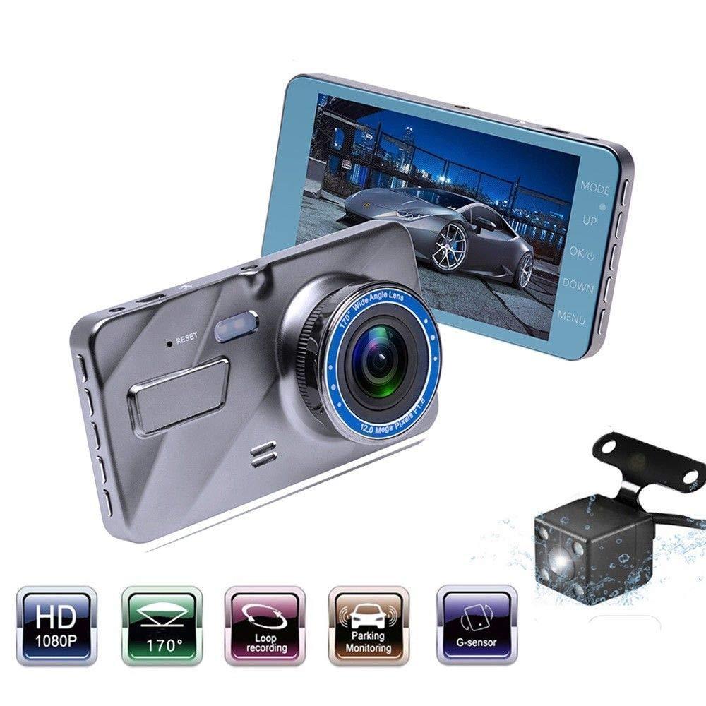 """Dual Lens Car DVR Auto Camera WDR Dash cam 4"""" IPS FHD 1080P Video Registrator"""