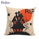 2017 Hot sale custom soft jute decoration halloween cushion cover