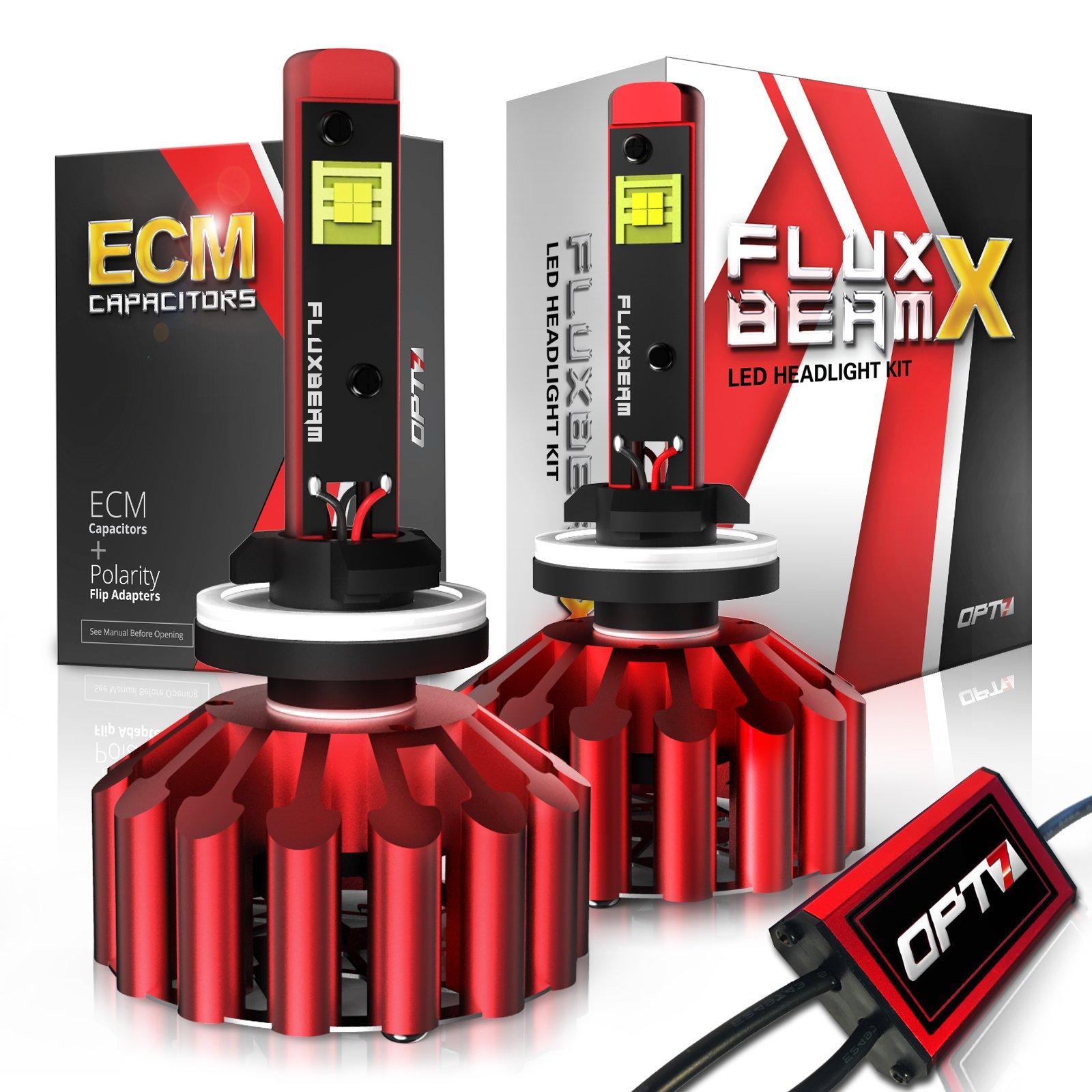 OPT7 Fluxbeam X 881 886 894 LED Fog Light Bulbs - 8,400Lm 6000K Daytime White - All Bulb Sizes - 2 Year Warranty