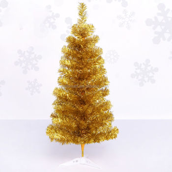 Small Gold Pet Artificial Christmas Trees On Plastic Stand