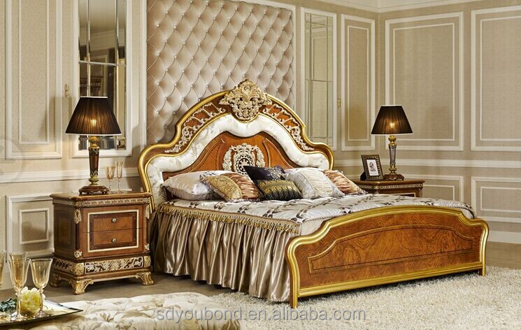 0062 Royal Luxury Bedroom Furniture Golden Bed Elegant Wood Carved Set