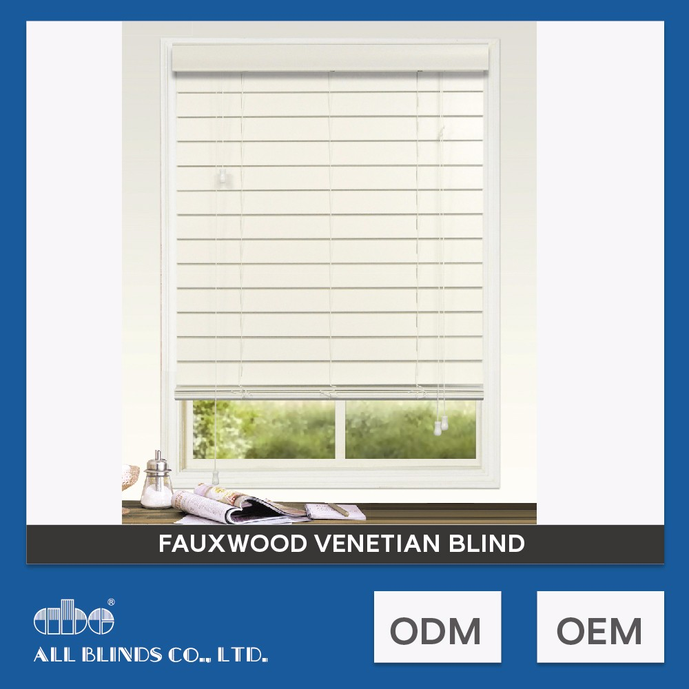 High Quality White Faux Wood Window Blind For Living Room